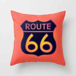 Travel USA sign of Route 66 label. American road icon. Throw Pillow