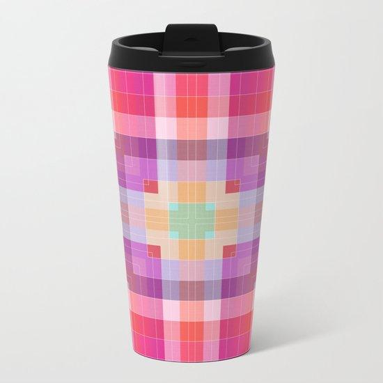 Bright Pink Geometric Metal Travel Mug