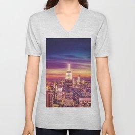 New York City Dusk Sunset Unisex V-Neck