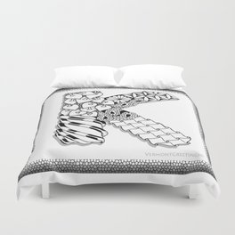Zentangle K Monogram Alphabet initial Duvet Cover