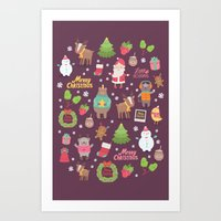 merry christmas Art Prints featuring Merry Christmas by Anna Alekseeva kostolom3000