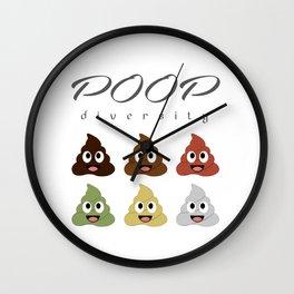 Poop diversity- Types of poop happy emoticons Wall Clock