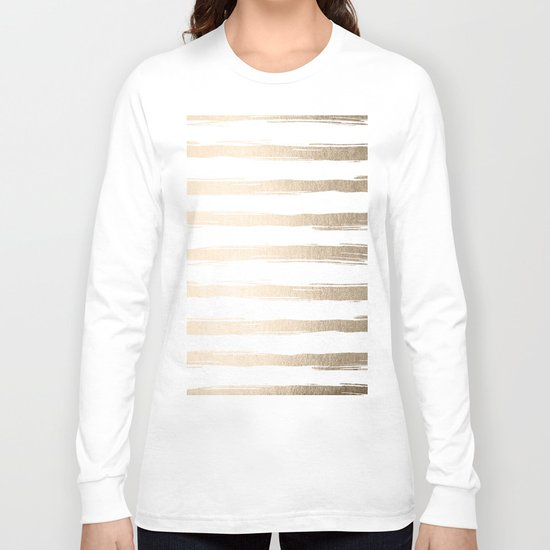 Simply Brushed Stripes White Gold Sands on White Long Sleeve T-shirt