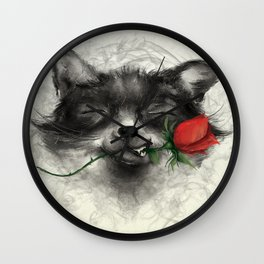 Valentine's Fox Wall Clock