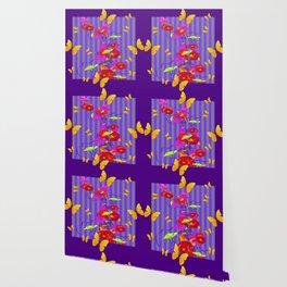 GOLDEN BUTTERFLIES &  RED FLOWER GARDEN Wallpaper