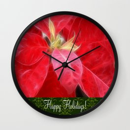 Mottled Red Poinsettia 2 Happy Holidays S6F1 Wall Clock