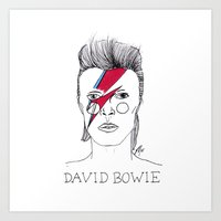 bowie Art Prints featuring Bowie by ☿ cactei ☿