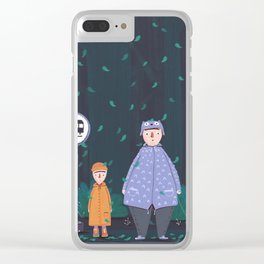 Waiting in the the forest rain Clear iPhone Case
