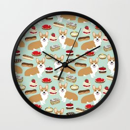 Corgi Patisserie Bakery French Parisian food, tarts, eclair, napoleon, cute food design Wall Clock