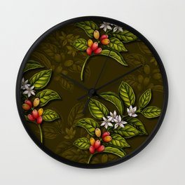 Coffee Plant Branches w/ Coffee Cherries & Flowers Wall Clock