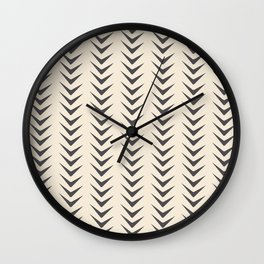 Cocoa Bisque Chevron Line Mid-Century Shapes Wall Clock