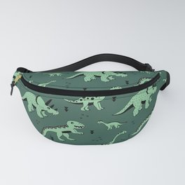 Dinosaur jungle love quirky creatures illustration Fanny Pack