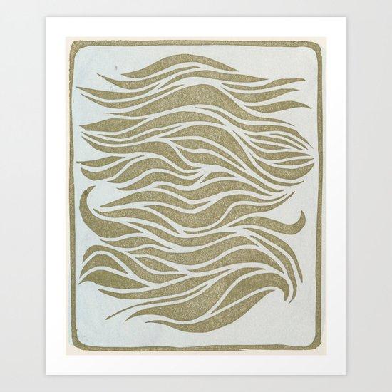 Wave Lines Woodblock Art Print