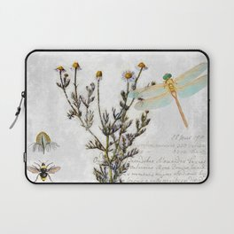 Chamomile Herb, Dragonfly Bumble Bee Botanical painting, Cottage style Laptop Sleeve