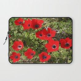 Wild Anemone Flowers In A Spring Field Laptop Sleeve
