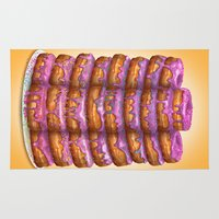 homer Area & Throw Rugs featuring Donuts II 'Bon appetit Homer' by Piotr Burdan