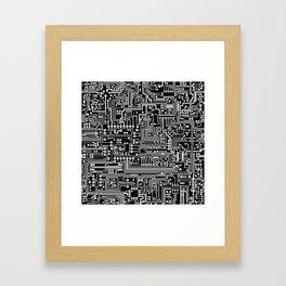 Circuit Board on Black Framed Art Print
