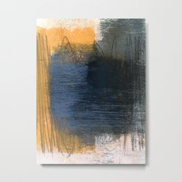 Blue Gold Grey Abstract Metal Print