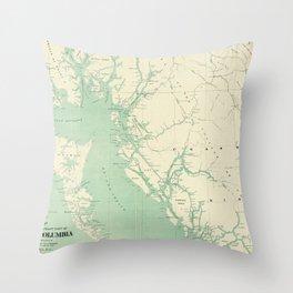Vintage Map of British Columbia (1893) Throw Pillow