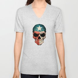 Dark Skull with Flag of Texas Unisex V-Neck