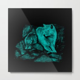 Wolf and Raven in the Night Metal Print