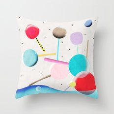 Lolli pop floating water waves and bubbles Throw Pillow