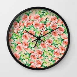 Botanical red green coral watercolor floral roses pattern Wall Clock