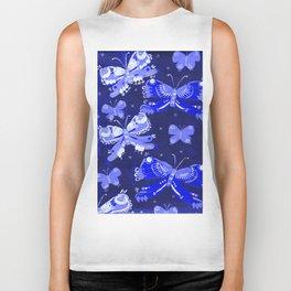 Blue Starry Butterflies Biker Tank