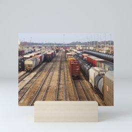 Trains at the Rail Yard photo Mini Art Print