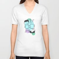 best friends V-neck T-shirts featuring Best Friends by Silva Ware by Walter Silva