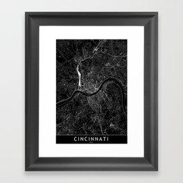 Cincinnati Black Map Framed Art Print