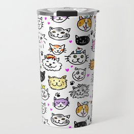 Whimsical Cat Faces Pattern Travel Mug