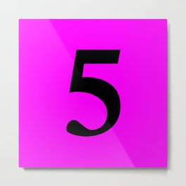 5 (BLACK & FUCHSIA NUMBERS) Metal Print