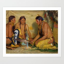 Making Sweet Grass Medicine, Blackfoot Ceremony by Joseph Henry Sharp, circa 1920. Art Print