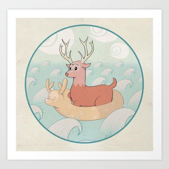 Deer Across the Sea Art Print
