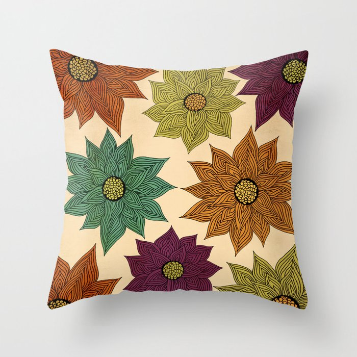 Color Me Floral Throw Pillow
