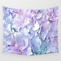 outdoor Wall Tapestries featuring Soft Pastel Hydrangea by Judy Palkimas