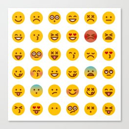 Cute Set of Emojis Canvas Print