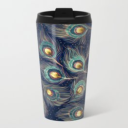 Peacock Feathers Metal Travel Mug