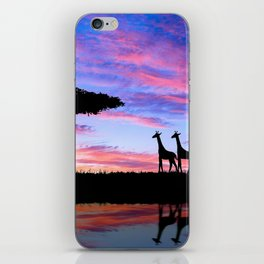 Lonely Tree And Giraffes Silhouette In African Savannah At Sunset Ultra HD iPhone Skin