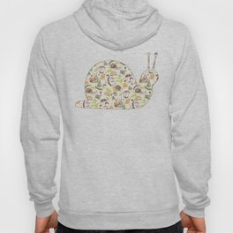 Woodland Snail in Watercolor Fungi Forest, Moss Green and Ochre Earth Animal Pattern Hoody