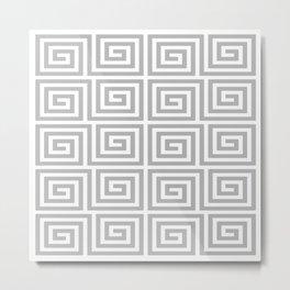 Greek Key Pattern 126 Gray Metal Print