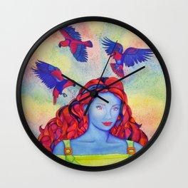 Eclectus Parrot Bird oman Wall Clock