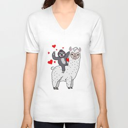 Sloth Riding Llama Alpaca Love Gift Unisex V-Neck