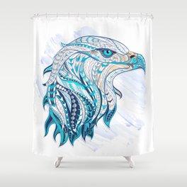 Blue Ethnic Eagle Shower Curtain
