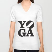 yoga V-neck T-shirts featuring YoGA by CGould