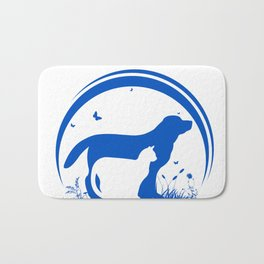 Dog and Cat and nature Silhouette Bath Mat