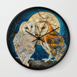 Owls Moon Stars Wall Clock