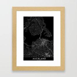 Auckland Black Map Framed Art Print