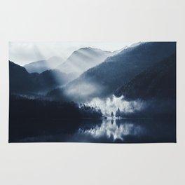 Foggy lake Rug